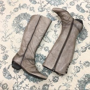 Hispanitas Tall Grey Leather Boots Size 36